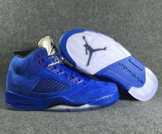 950a315f7f1 Authentic Air Jordan 5 Blue Suede Game Royal Black 136021-401 -  Mysecretshoes Jordan 5