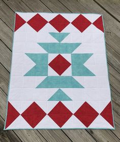 Items similar to Aztec Baby Quilt - Blanket - Crib - Cot Size - Aqua Blue - Red - Tribal Baby Quilt - Geometric - Blanket - Ready to Ship - Baby Shower Gift on Etsy Barn Quilt Designs, Barn Quilt Patterns, Quilting Designs, Big Block Quilts, Quilt Blocks, Southwestern Quilts, Quilting Projects, Quilting 101, Indian Quilt