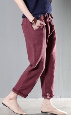 Brick red linen plus size pants