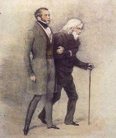 Gravure en couleurs représentant deux hommes de trois-quarts, marchant en se tenant le bras. Celui de gauche et au premier plan, à cheveux et favoris noirs, est vêtu d'un pantalon et d'un manteau gris; il marche en se tenant droit. Celui de droite et au second plan, à cheveux bouclés et blancs, est vêtu d'un pantalon et d'un manteau noir; il marche courbé sur une cane.
