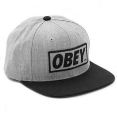 """Obey  Original Hat - Heather Grey / Black  """"logo patch snapback cap""""  price: $22.00    Twill cap from Obey with full embroidered patch on the front, snap closure on the back. Features contrast color bill and top button. 80% cotton/20% polyester construction.    80% cotton / 20% polyester"""