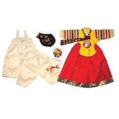 girl dol hanbok - yellow bold rainbow sleeve and red 7 pieces girl dol hanbok set - bdkmint – bdk   mint