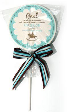 Letterpress lollipop baby shower invite