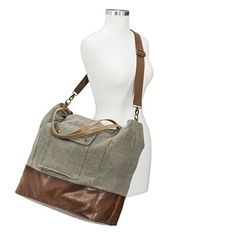 Women's Canvas Tote Handbag with Leather Bottom - Green