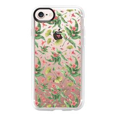 Vintage pink green botanical cute flowers pattern - iPhone 7 Case And... ($40) ❤ liked on Polyvore featuring accessories, tech accessories, iphone case, iphone cases, vintage iphone case, apple iphone case, vintage floral iphone case and green iphone case