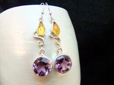 Amethyst & Golden Amber Drop Earrings, Handmade Sterling Silver Bezel Set Purple Gemstone Dangle Earrings by WelshHillsJewellery on Etsy