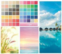 Светлая весна — это слегка высветленные, но при этом живые и довольно яркие цвета с золотистым оттенком. Палитра обычно ассоциируется либо с рассветом на весеннем лугу, когда солнце слегка золотит и высветляет яркие цвета, либо с тропическим пейзажем поутру — по той же причине.