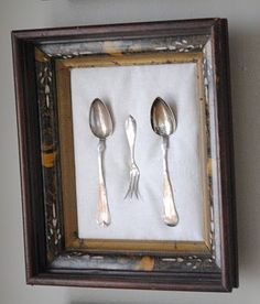 Great idea! Fishing line to mount antique silver. Have wanted to mount some old spoons without damaging the.