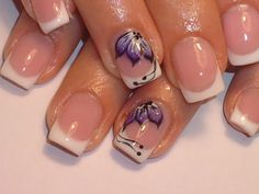 purple flower on white french tips