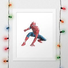 SPIDERMAN PRINT Peter Parker Watercolor Nursery Comics