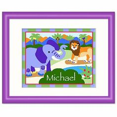 Wild Animals Purple Personalized Print by Olive Kids. $56.99. Ready to hang.. Frame: 12 x 15 with an 8 x 10 print.. Please enter personalization request in the gift message section at checkout.. Solid wood frame, purple with white mat and glass.
