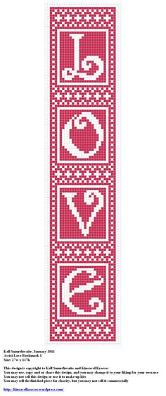 Design: Assisi Love Bookmark 1 Size: 27w x 137h Designer: Kell Smurthwaite, Kincavel Krosses Permissions: This design is copyright to Kell Smurthwaite and Kincavel Krosses You may use, copy and/or ...