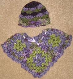 Hat and poncho for a sharp-dressed baby girl.