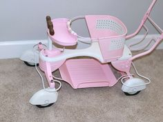With sought after fenders. Pink and white as shown, beautiful perfect working condition. Classic Japanese Cars, Baby Doll Toys, White Wicker, Tin Toys, Metal Tins, Doll Furniture, Reborn Dolls, Vintage Wood, Baby Strollers