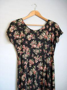 Grunge Floral Dress Vintage Black Garden