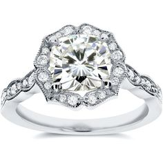 Antique Floral Cushion-cut Moissanite and Diamond Engagement Ring 2... ($1,350) ❤ liked on Polyvore featuring jewelry, rings, 14k diamond ring, cushion cut diamond ring, 14k white gold ring, antique engagement rings and antique vintage rings