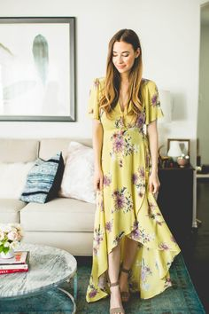 love this yellow floral maxi dress