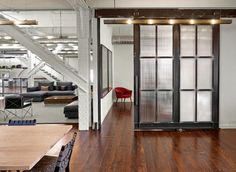 sliding door with lights Heron Live/Work - industrial - Family Room - San Francisco - Boor Bridges Architecture