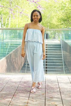 Blue embroidered Topshop jumpsuit with floral block heels. By Desireé Jones on jamieandjones.com. New York City street style and fashion. NYC