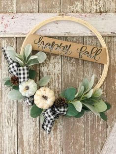 Fall DIY Series - Week 1 Fall Hoop Wreath Fall is approaching and in the pumpkin spirit, that means DIY fall wreaths! Find out how here: Easy Fall Wreaths, Diy Fall Wreath, Fall Diy, How To Make Wreaths, Wreath Ideas, Wreath Crafts, Winter Wreaths, Spring Wreaths, Summer Wreath