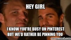 Ok I loved the shield so much, but now it's just Roman and Ambrose. Would let them pin me! #WWE #PinMe