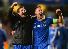 LONDON, ENGLAND - APRIL 08: Frank Lampard and John Terry of Chelsea celebrate victory during the UEFA Champions League Quarter Final second ...