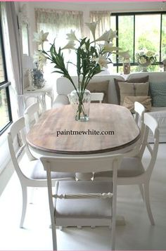 Dining Table Makeover - whitewash table top and white chalk paint the base and chairs