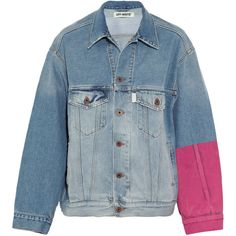 Off-White Oversized embroidered flocked denim jacket (£585) ❤ liked on Polyvore featuring outerwear, jackets, embroidered jacket, vintage jean jacket, oversized jean jacket, off white jacket and vintage jackets