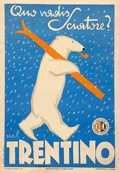 FANTASTIC vintage ski poster with Polar Bear!