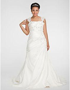 Trumpet/ Mermaid Square Chapel Train Chiffon Plus Size Wedding Dress – USD $ 199.99