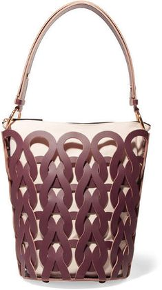 48082ac2c9b8 Marni - Tricot Woven Leather And Canvas Tote - Burgundy