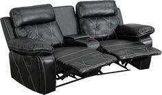 Reel Comfort Series 2-Seat Reclining Black Leather Theater Seating Unit with Curved Cup. Complete your theater room with this comfortable theater style seating. Reclining furniture offers the best in relaxation for you to kick up your feet to watch TV, work on a laptop, or to just hang out with family and friends. This theater set features elegantly styled stitching throughout and plush upholstered arms. The cup holder wedge has a deep storage compartment to keep up with your remotes and…