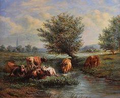 Henry Charles Bryant, Salisbury Meadows, Medium, Oil on board. Salisbury, Modern Art, Oil, Medium, Board, Painting, Painting Art, Paintings, Contemporary Art