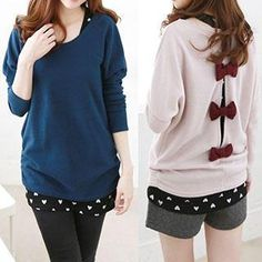 Rocho - Set: Long-Sleeved Bow-Accent Cardigan + Heart Print Knit Tank Top
