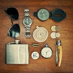 Compass check, flask check, pocket knife and tinder check.