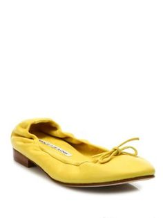 MANOLO BLAHNIK Tobaly Leather Ballet Flats. #manoloblahnik #shoes #flats