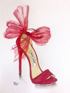 Fashion shoe illustration: Jimmy Choo inspired red heel, pen and watercolor painting by KIMPETERSONART