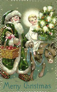 Santa in green vintage Christmas postcard