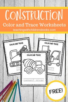 This set of Goodnight Goodnight Construction Site coloring pages is perfect for young readers! They can color the pictures and trace the words. Construction Theme Preschool, Construction Crafts, Construction Birthday, Construction For Kids, Construction Machines, Early Learning, Fun Learning, Learning Activities, Children Activities