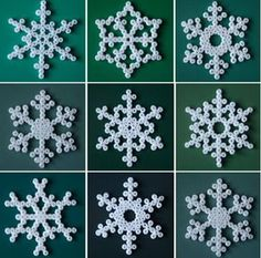 Make your own snowflake Christmas decorations with white hama beads -a great weekend crafting project with the kids. Hama Beads Design, Hama Beads Patterns, Beading Patterns, Perler Bead Ornaments Pattern, Peyote Patterns, Snowflake Craft, Snowflake Pattern, Snowflake Ornaments, Snowflake Designs