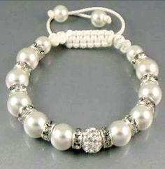 BN Shamballa friendship Bead bracelet bangle crystal Pearl adjustable 20-28cm