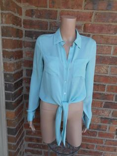 THEORY Orencia Tie Front Blouse Sz S Women 100% Silk Shirt Top Long Sleeve Blue #Theory #Blouse #Casual