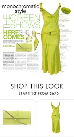 """""""Monochromatic Style"""" by conch-lady ❤ liked on Polyvore featuring Andrea, Cashhimi, John Galliano, Manolo Blahnik, monochrome, GREEN and Monochromaticstyle"""