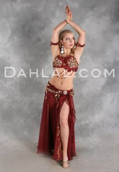 $749.95 EXALTATION in Wine with Gold by Designer Eman Zaki, Egyptian Belly Dance Costume