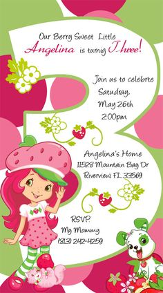 Strawberry Shortcake Invitations AGE 1 2 3 4 5 by DesignsbySuzan