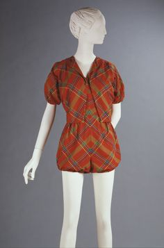 Claire McCardell  Playsuit and Jacket  USA Late 1940s-Early 1950s  Plain weave tartan cotton