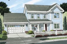 Country Style House Plan - 3 Beds 2.00 Baths 1165 Sq/Ft Plan #513-2056 Exterior - Front Elevation - Houseplans.com