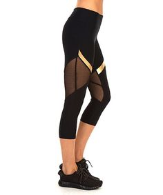 X by Gottex Black & Gold Stripe Mesh-Panel Capri Pants | zulily