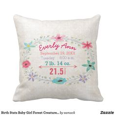 Birth Stats Baby Girl Forest Creatures Fox Throw Pillow