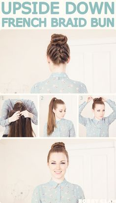 french braids alongside looking pretty, also easily keep hair out of your face. want to know how to French braid your own hair? Here is an easy 6 steps on how to French braids easily on your own hair. Click and learn! French Braid Hairstyles, Braided Hairstyles Tutorials, Pretty Hairstyles, Hair Tutorials, Hairstyle Ideas, Classy Hairstyles, Easy Hairstyle, Bun Hairstyles, Upside Down French Braid